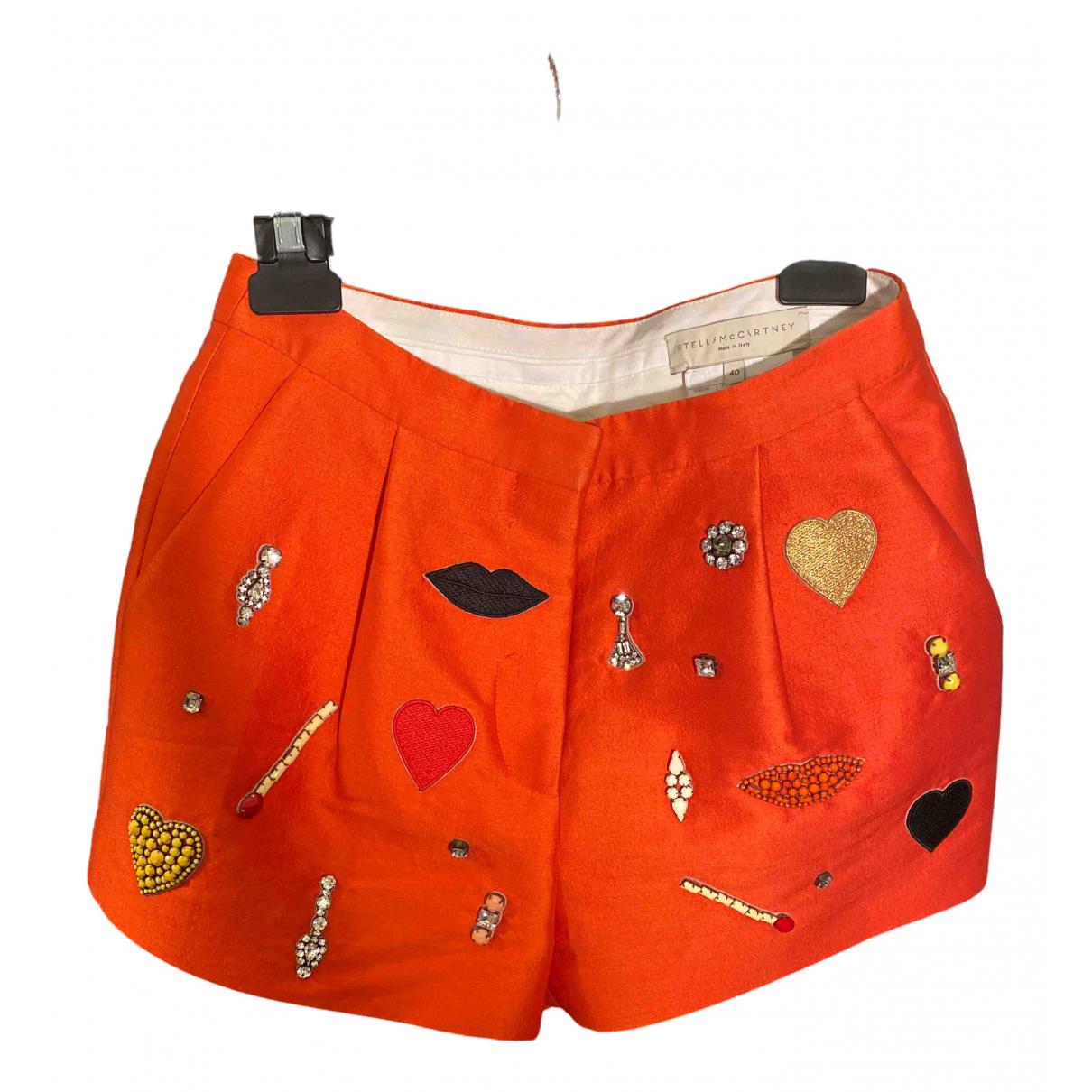 Stella Mccartney \N Orange Silk Shorts for Women 40 IT