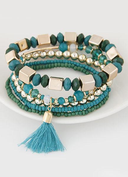 Milanoo Bohemian Charm Bracelet Tassel 5 Row Tiered Alloy Bead Stretch Bracelet