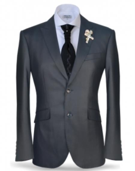 Mens Charcoal Two Button Peak Lapel Suit Fashion Suit (Jacket + Pants)