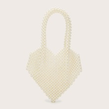 Faux Pearl Beaded Heart Shaped Shoulder Bag