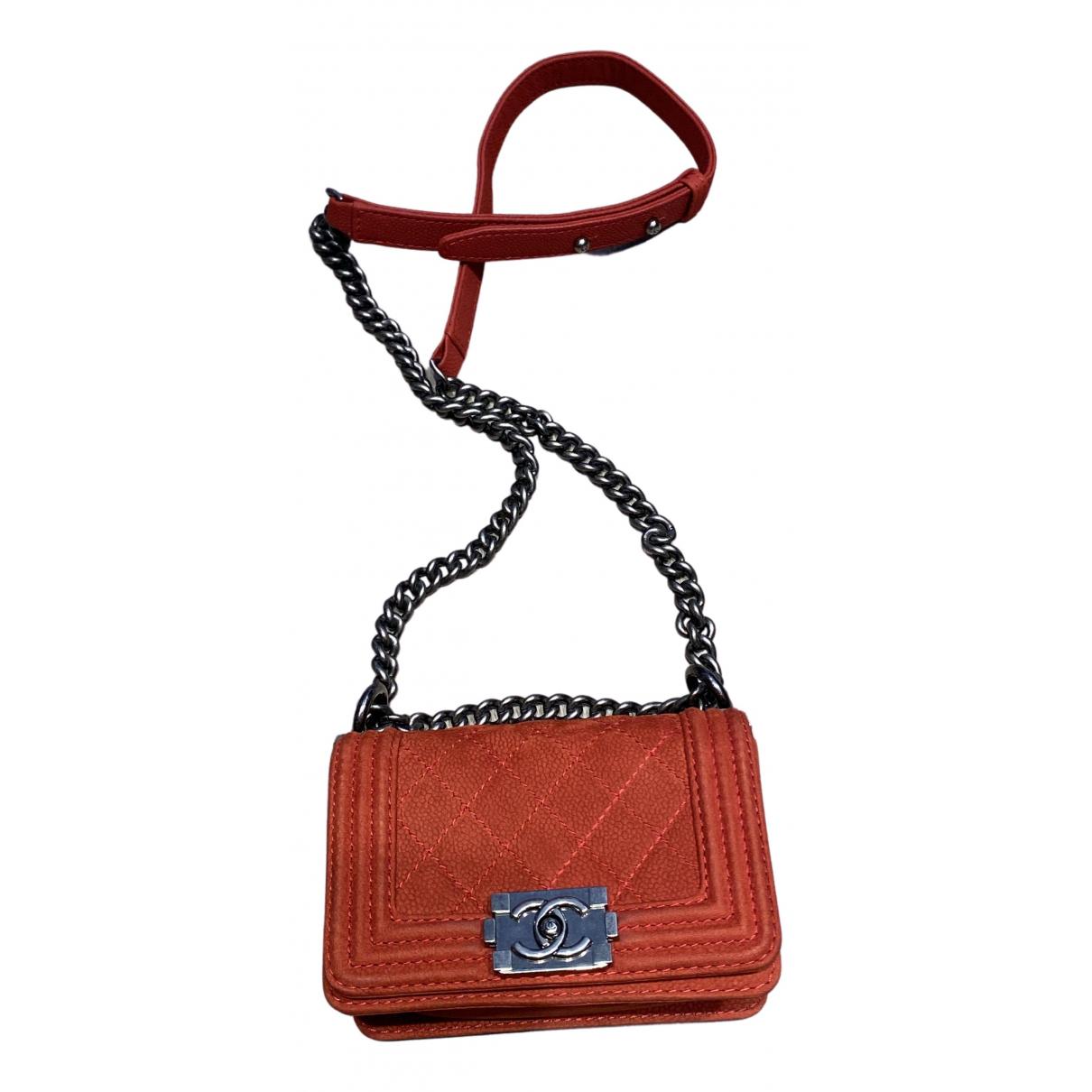 Chanel Boy Red Leather handbag for Women N