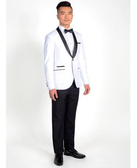 Men's Single Breasted White 1 Button Tuxedo with Black Shawl Lapel
