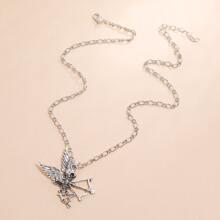 Halskette mit Schaedel und Fluegel Dekor
