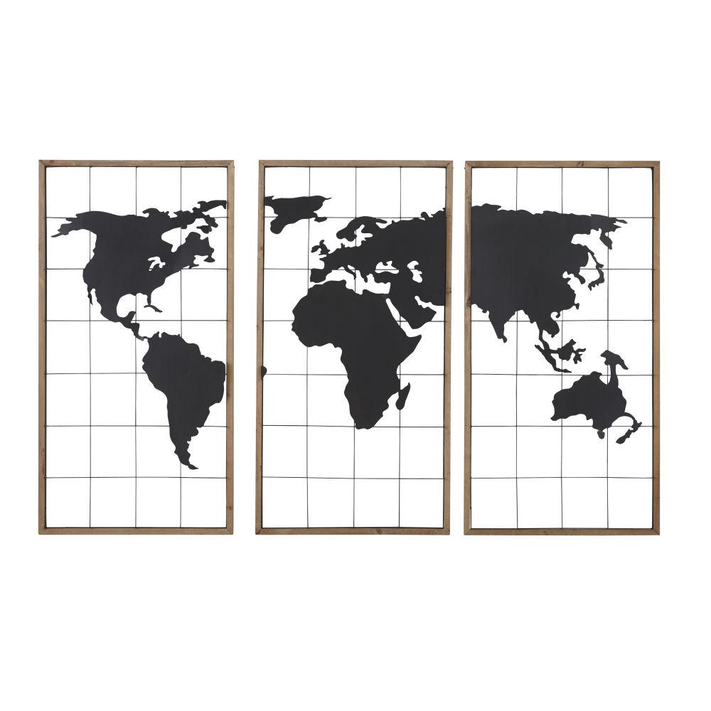 3-teilige Weltkarte aus schwarzem Metall und Tannenholz 159x102