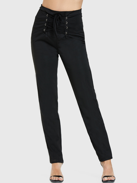 Yoins Black Lace-up Design High-Waisted Pants