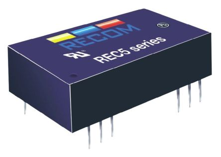 Recom REC5 5W Isolated DC-DC Converter Through Hole, Voltage in 18 → 36 V dc, Voltage out ±15V dc Medical