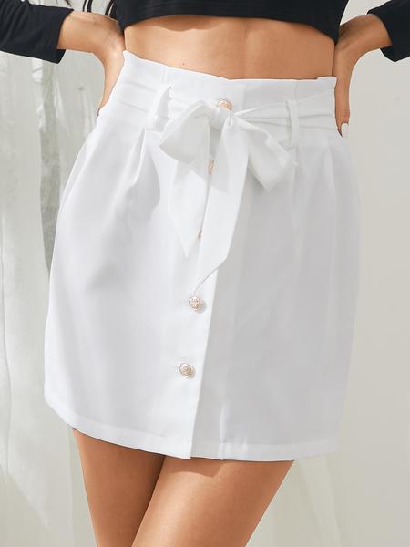 Yoins White Button Front Belt Design Mini Skirt