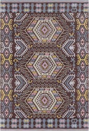 SAJ1065-810 8' x 10' Rug  in Dark Brown and Mint and Pale Blue and Denim and Bright Yellow and Pale