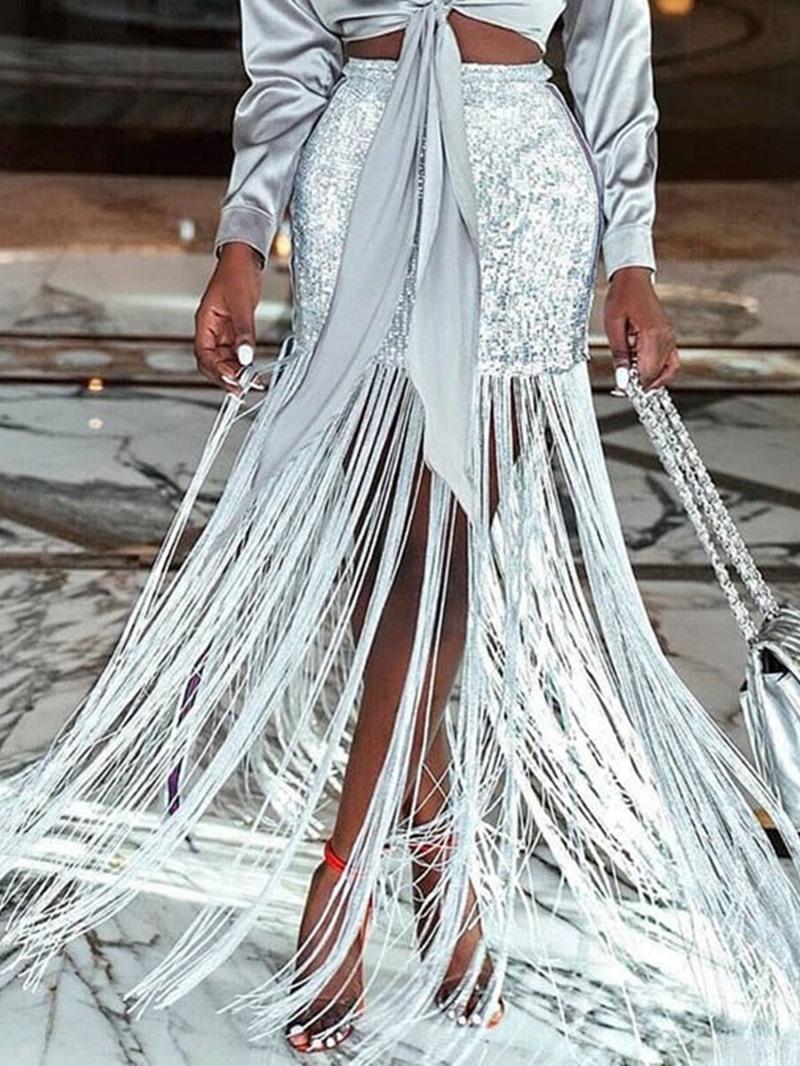 Ericdress Tassel Floor-Length Sequins Plain Skirt