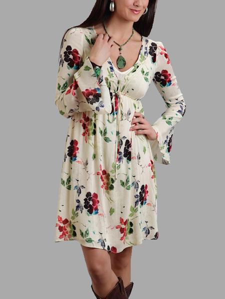 Yoins Random Calico Print V-neck High Drawstring Waist Mini Dress
