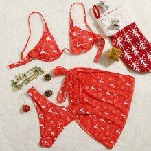 3 piezas Bañador bikini con aro con estampado de navidad con falda de playa