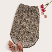 Rock mit Leopard Muster, Taillenband und abfallendem Saum
