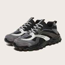 Men Lace-up Front Mesh Panel Chunky Sneakers
