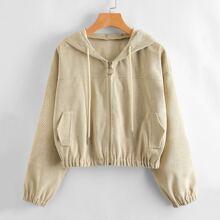 Corduroy Drawstring Zip-up Hooded Jacket
