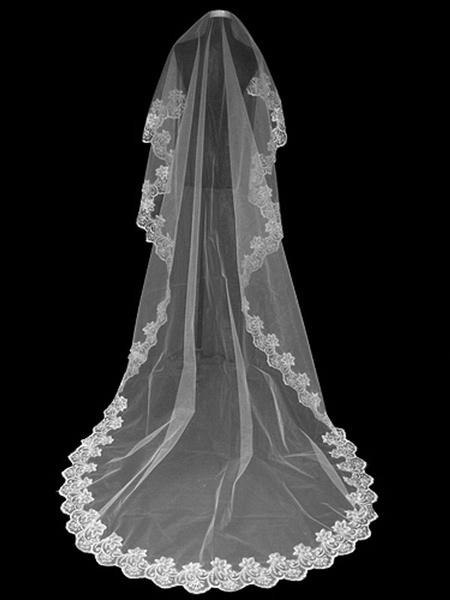 Milanoo Wedding Veils Long Lace Applique One Tier Tulle Bridal Veils