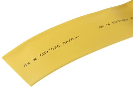 RS PRO Heat Shrink Tubing, Yellow 6.4mm Sleeve Dia. x 8m Length 2:1 Ratio
