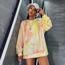 Drop Shoulder Tie Dye Oversize Pullover