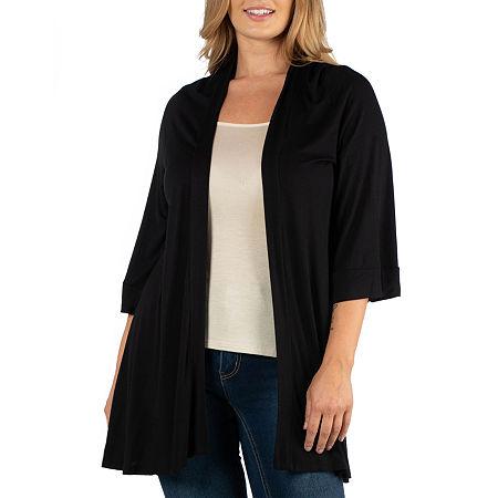 24/7 Comfort Apparel Open Front Elbow Sleeve Cardigan - Plus, 6x , Black