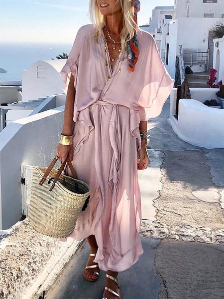 Yoins Belt Design Ruffle Trim Maxi Dress