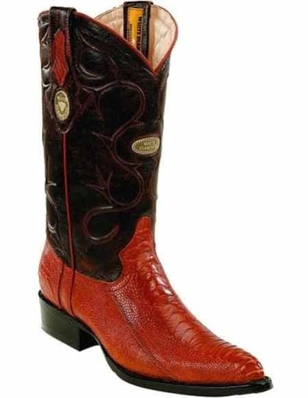Mens Cognac Ostrich Leg Skin JToe Style Boots Full Leather Pull Straps