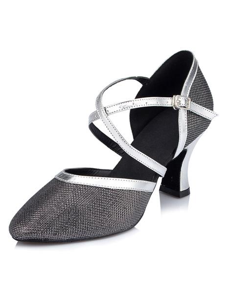 Milanoo Champagne Ballroom Shoes Glitter Salsa Dance Shoes Pointed Toe Criss Cross High Heel Dance Shoes
