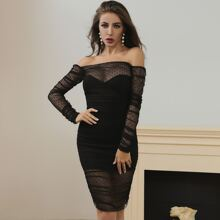 Lucra Off Shoulder Ruched Dobby Mesh Bodycon Dress