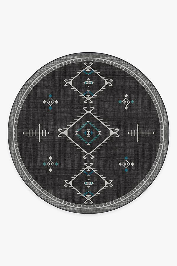 Washable Rug Cover & Pad | Damali Charcoal Rug | Stain-Resistant | Ruggable | 8' Round