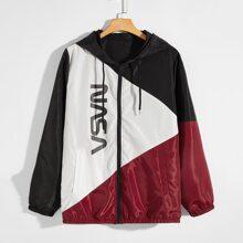 Men Letter Graphic Zip Up Windbreaker Jacket