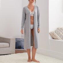Solid Rib-knit Lounge Robe