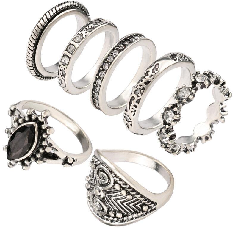 Vintage Finger Ring Set Metal Geometric Rhinestone Cat Eyes Rings Stereoscopic Totem Rings