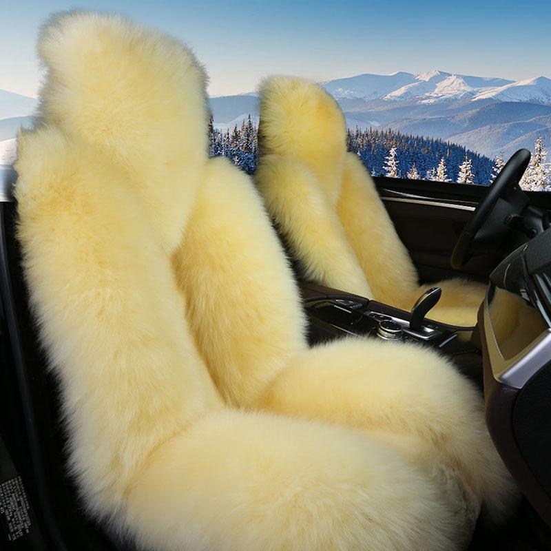 Beige Full Lambswool Material 3D Shape Design Super Warm Winter Universal Car Seat Covers