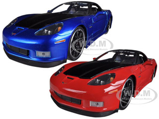 2006 Chevrolet Corvette Z06 Blue & Red 2 Cars Set 1/24 Diecast Model Cars by Jada