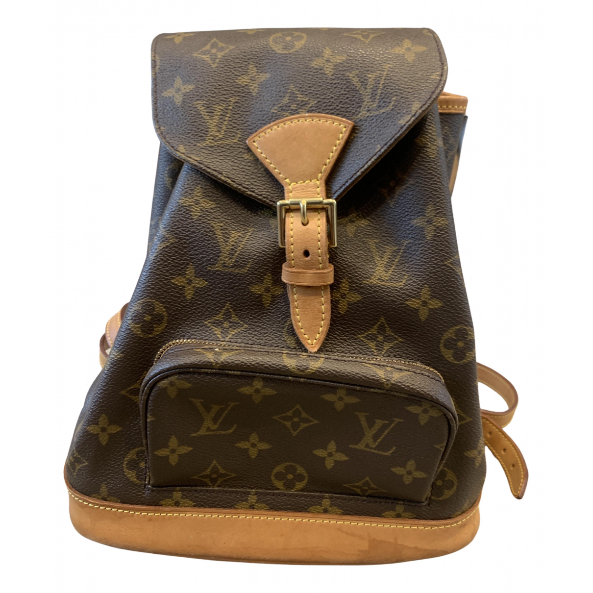 Louis Vuitton Montsouris Rucksaecke in  Braun Leinen