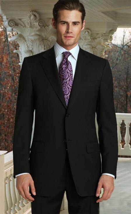 2 Button Jet Black Supers Suit with Hand Pick Stitching on Lapel