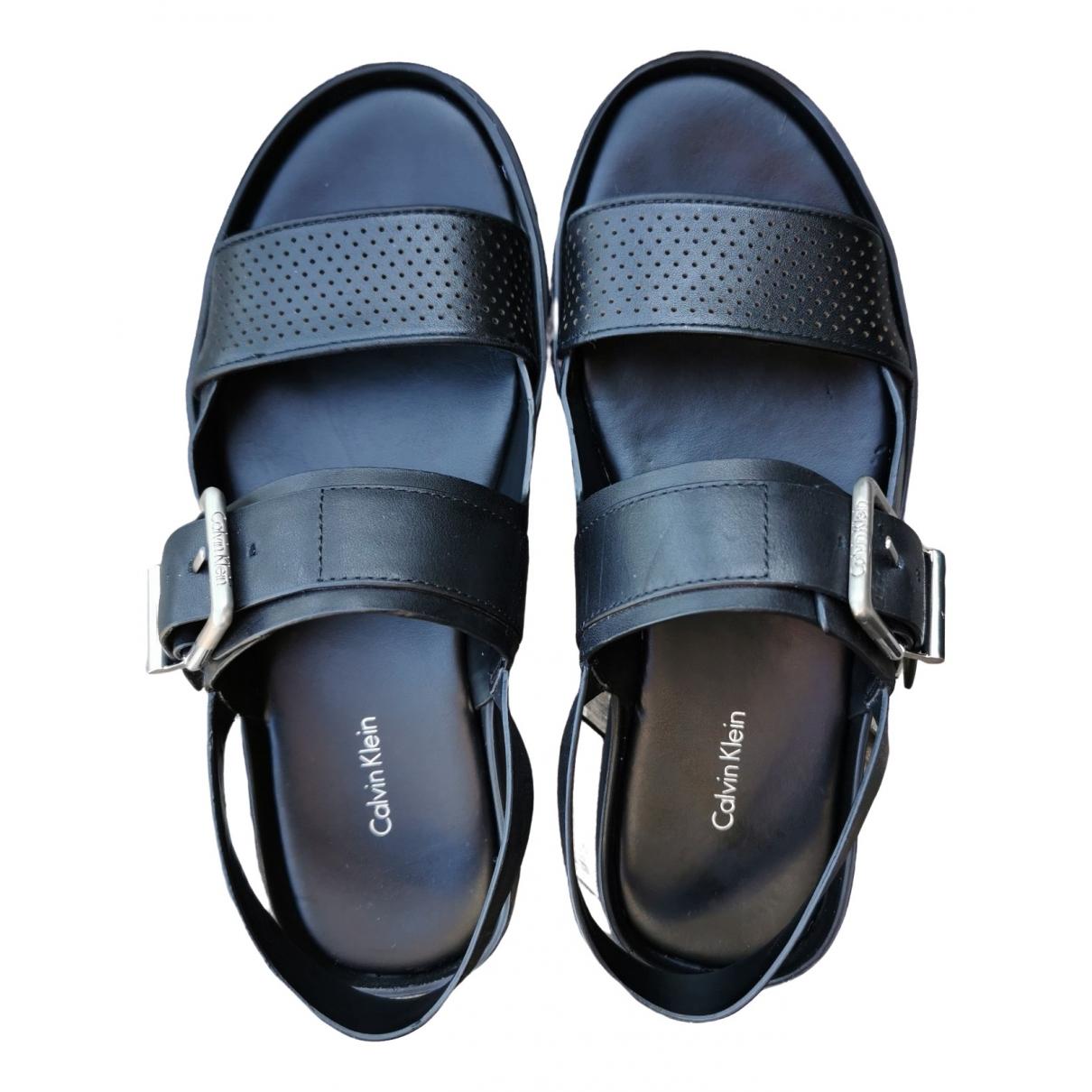Calvin Klein \N Black Leather Sandals for Women 36 EU