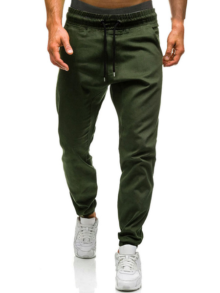 Milanoo Tapered Track Pant Cotton Drawstring Men Jogger Pant