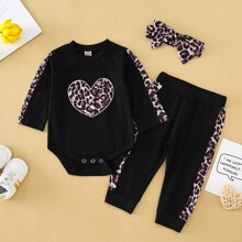 Baby Girl Heart Embroidery Graphic Print Bodysuit & Joggers & Headband