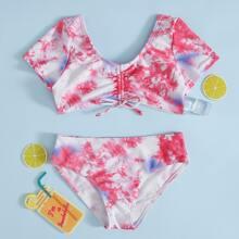 Girls Tie Dye Knot Front Bikini Swimsuit