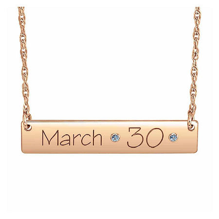 Personalized Birthstone Date Bar Necklace, One Size , Pink