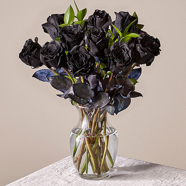 Deluxe Nightfall Black Rose Bouquet with Glass Vase