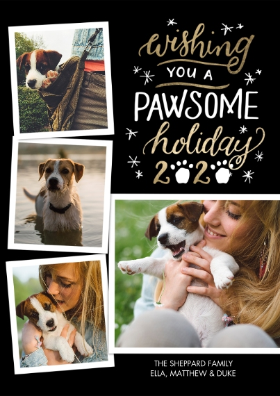 Christmas Photo Cards 5x7 Cards, Premium Cardstock 120lb with Scalloped Corners, Card & Stationery -2020 Pawsome Holiday by Tumbalina
