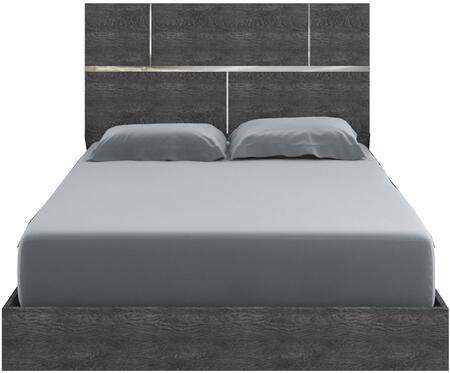 Milo Collection TC-9005-QG Queen Size Platform Bed with High Headboard  Low Profile Footboard  Laminated Medium-Density Fiberboard (MDF)  Stainless