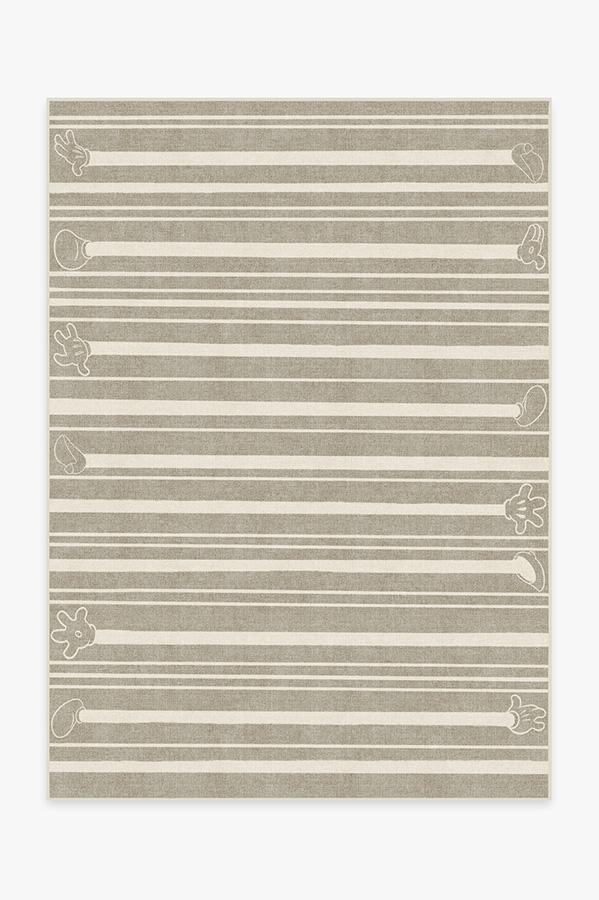Washable Rug Cover & Pad | Mickey Stripes Stone Rug | Stain-Resistant | Ruggable | 5'x7'