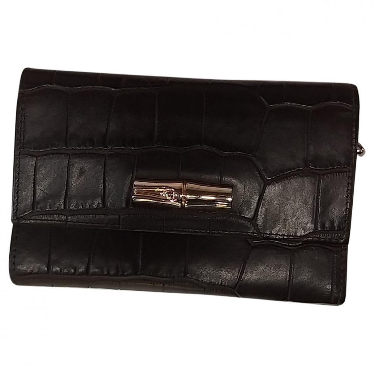 Longchamp - Portefeuille Roseau pour femme en cuir exotique - marron
