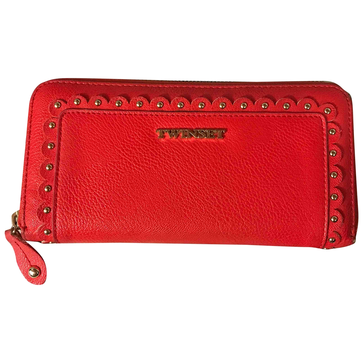 Twin Set - Portefeuille   pour femme en cuir - rouge