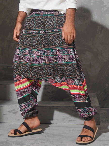 Yoins Men Ethnic Print Retro Drop Crotch  Loose Harem Pants