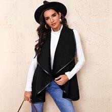 Weste Mantel mit Wassertropfen Kragen und Kontrast Bindung