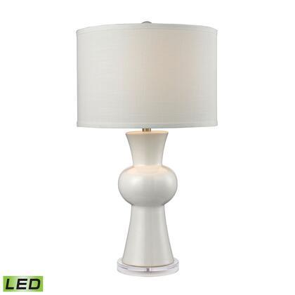 D2618-LED White Ceramic LED Table Lamp With Textured White Linen Hardback Shade  In