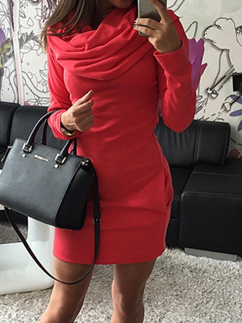 Ericdress Above Knee Long Sleeve Casual Womens Bodycon Dress