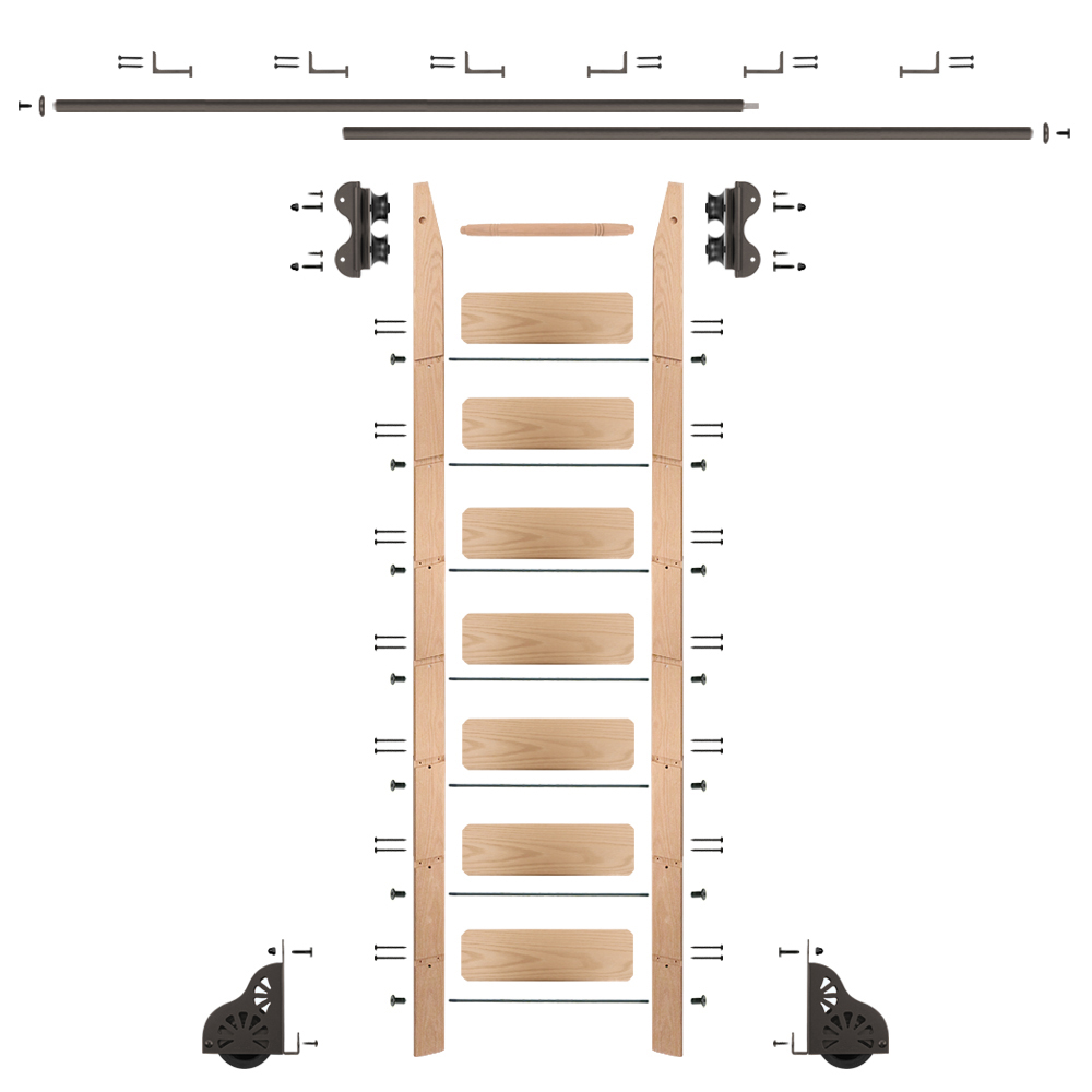 Standard Rolling 8-Foot Red Oak Ladder Kit with 12-Foot Rail and Horizontal Brackets, Bronze
